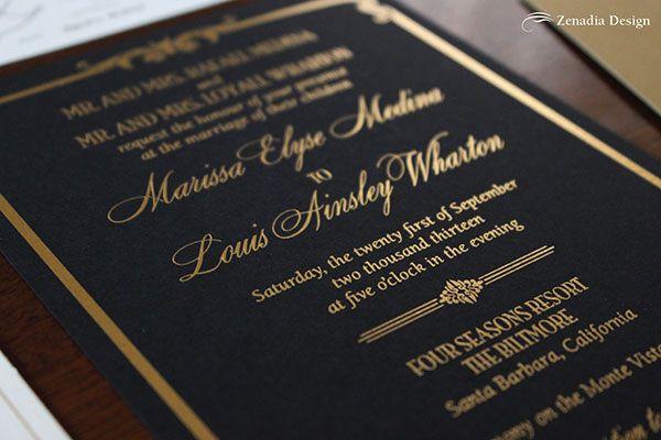 Black And Gold Foiled Wedding Invitation   Zenadia Design