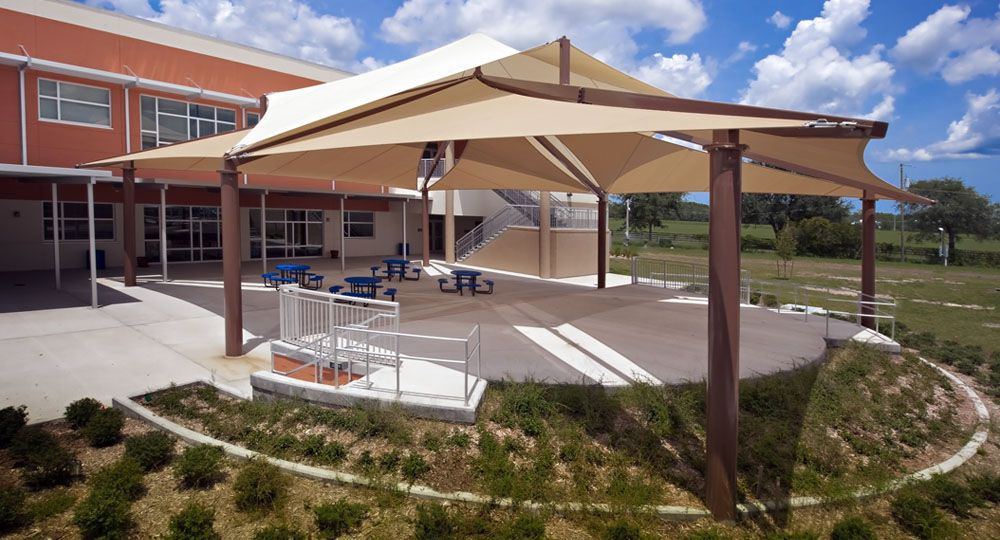 Fabric Sail shade structures for sun protection at playgrounds  schools   pools  sports fieldsSun Shade Sail School   Sail Shade   Pinterest   Sail shade. Outdoor Fabric Sun Shades. Home Design Ideas