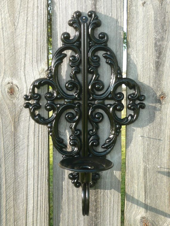 Upcycled Vintage Style Metal Wall Sconce in Black by Erindee, $16.00