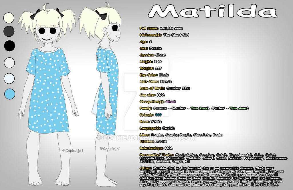 Creepypasta Oc Matilda Reference Sheet By Cookiejo1 On Deviantart