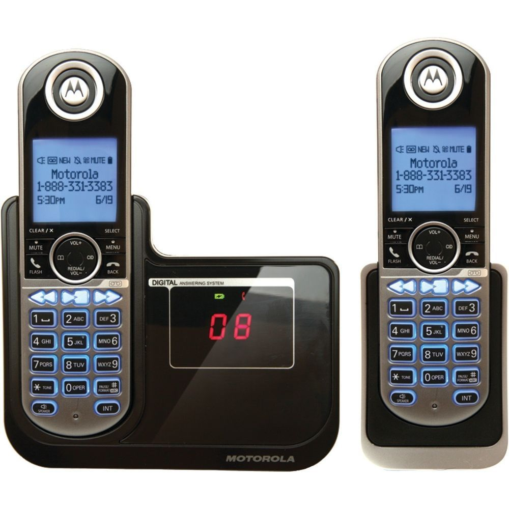 2 Motorola Cordless Digital Home Phone Handsets Loud Caller ID Answer System New