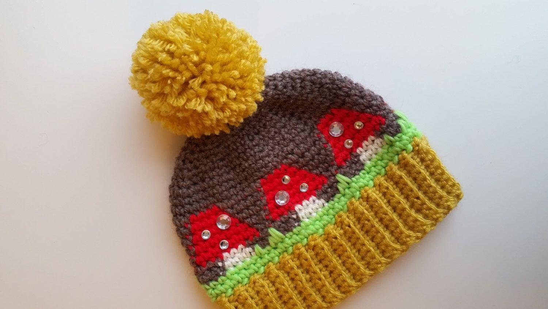 Crocheted Toadstool Pompom Hat, Handmade Crochet Winter Beanie ...