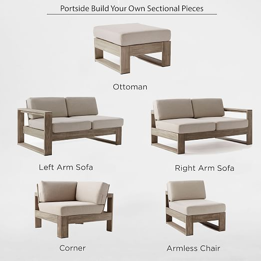 Build Your Own Portside Outdoor Sectional Weathered Gray