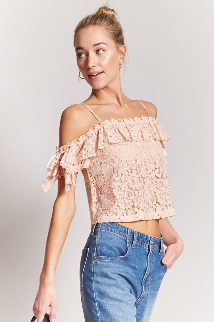 73a231610b5a Sheer Open-Shoulder Lace Crop Top
