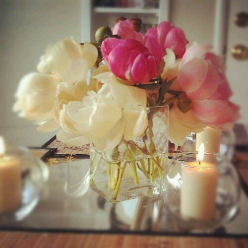 Full Moon Family Dinner, Peonies and Candle light