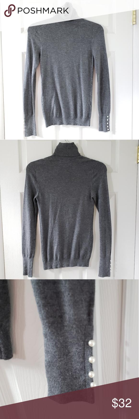 Zara Pearl Button Sleeve Turtleneck Sweater