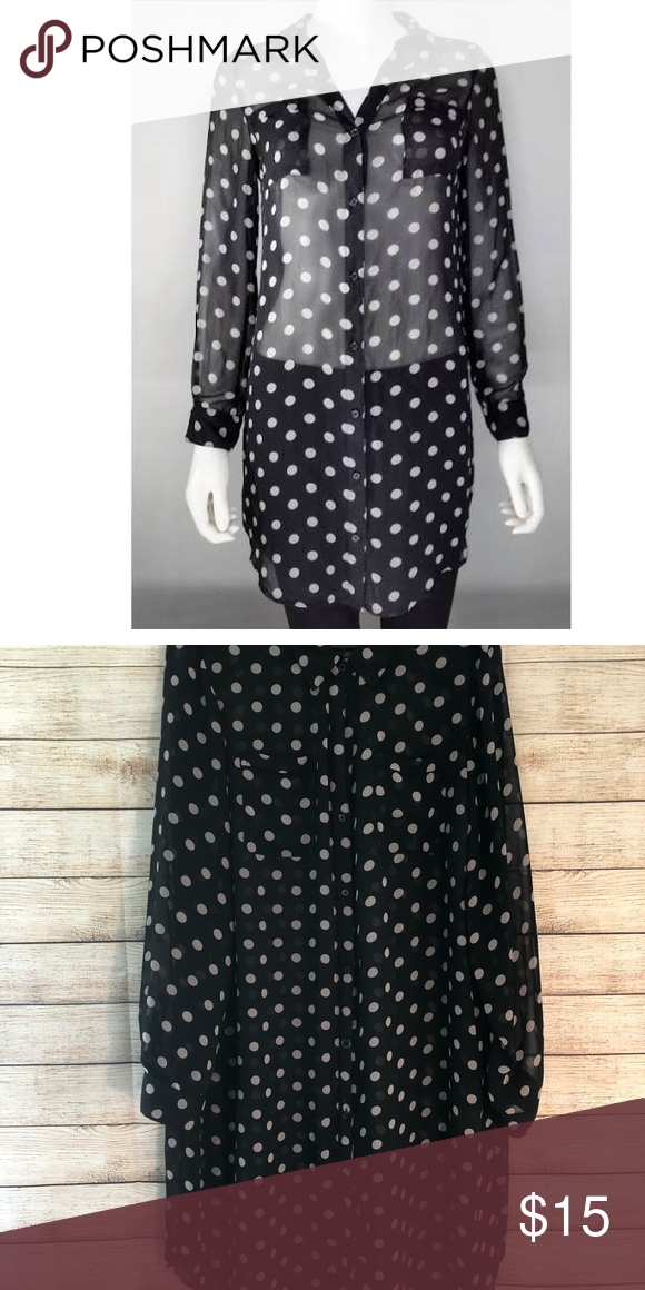 14c4a083bc96fa Old Navy Sheer Top Old Navy sheer black and white polka dot button down  blouse
