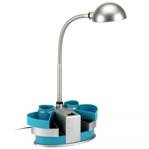Lampe de bureau leds avec rangements coloris bleue turquoise