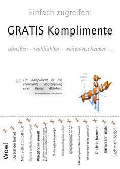 Aktion erfolgreich: GRATIS-Komplimente | Kompliment, Geschenkideen ...