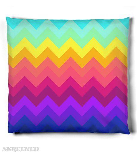 rainbow chevron pillow #Skreened