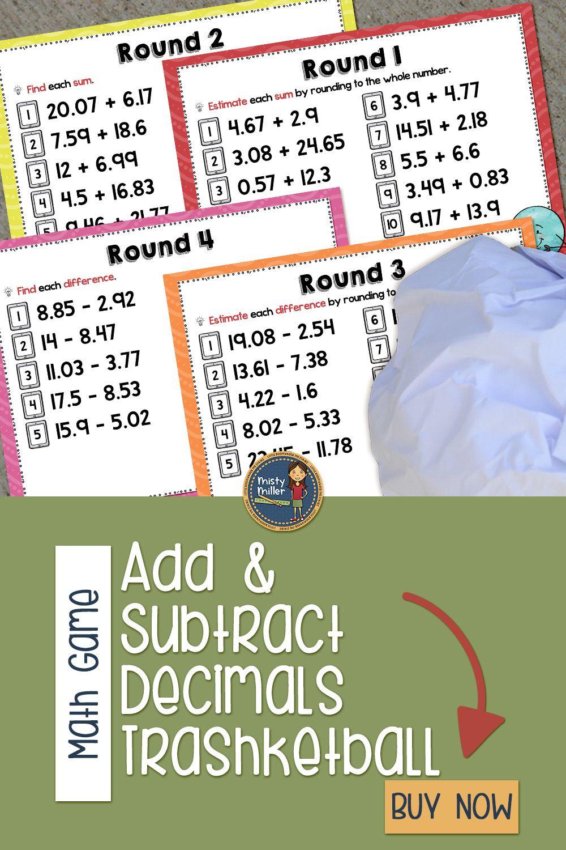 Adding And Subtracting Decimals Trashketball Math Game Subtracting Decimals Math Games Math Adding and subtracting decimals game pdf