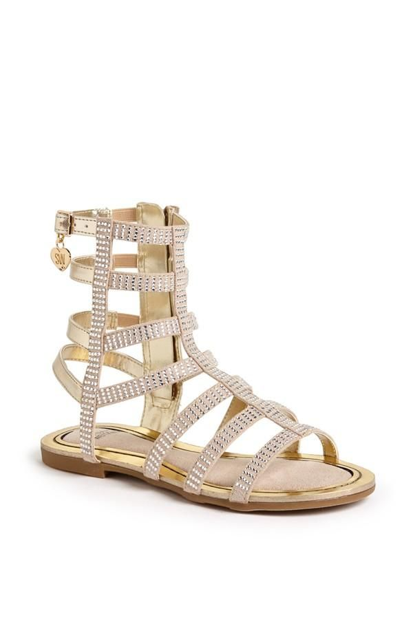 df875493176f Gold and sparkly gladiator sandals for spring.
