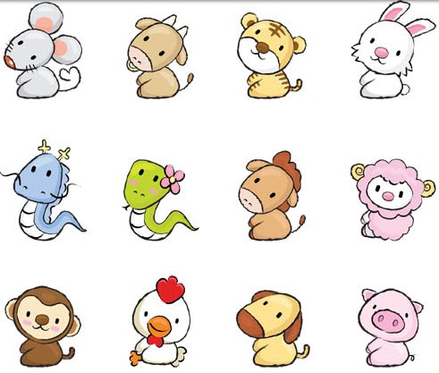 Cute Drawing Animals Vectors Material Cute Cartoon Animals Draw Cute Baby Animals Animal Drawings