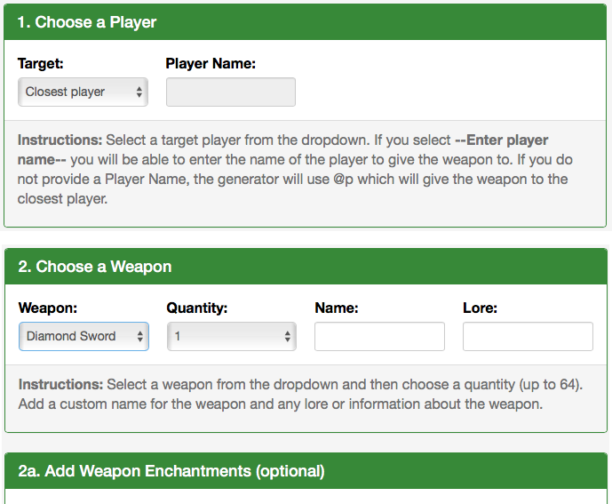 Use our Give Weapon Generator to create a Minecraft command