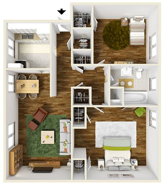 900 Square Foot Two Bedroom Apartment Floor Plan Furnished