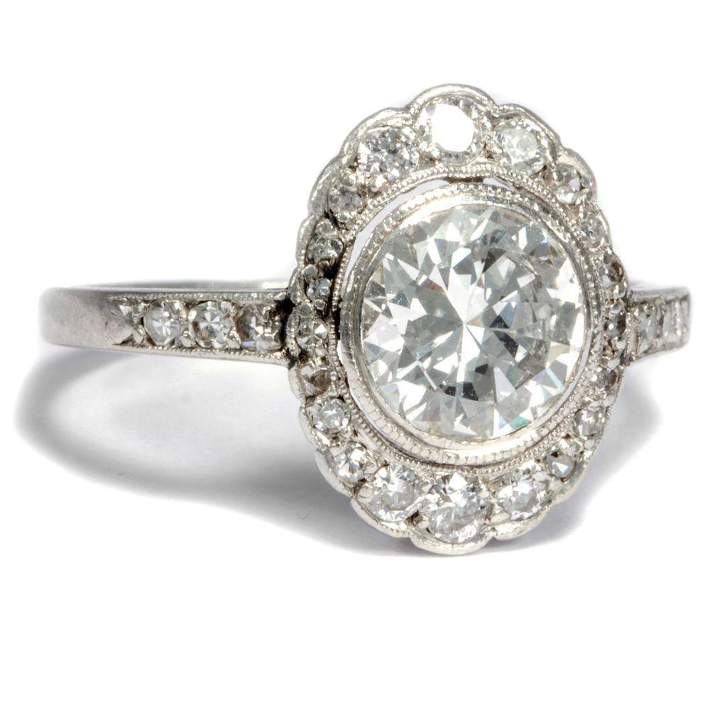 Wow 1 40 Ct Altschliff Diamant Solitar In Art Deco 950 Platin Ring