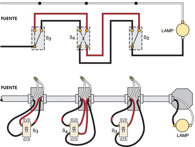 Conexion Del Interruptor De Cuatro Vias Diagrama De Instalacion Electrica Diseno Electrico Electricidad