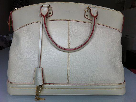 LOUIS VUITTON Authentic VINTAGE bag beige textured leather handbag