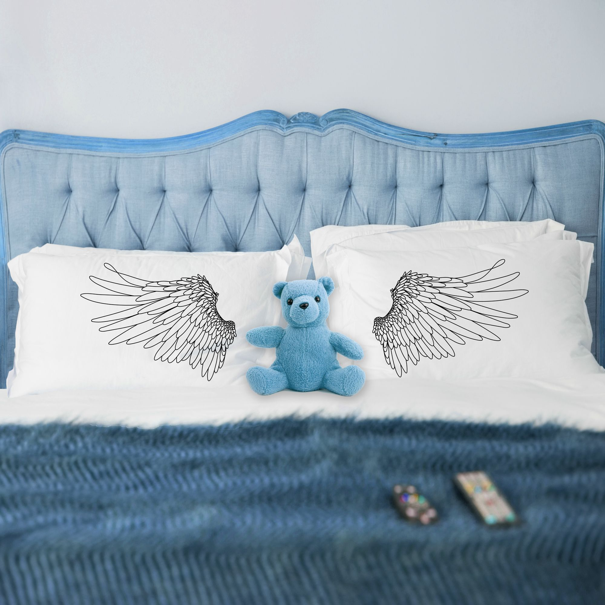 Angel Wings Printed Pillowcases White Bedding Dorm Decorations Pillow Talk