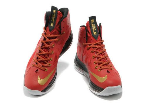 quality design 58ac5 440d2 Nike LeBron 10 Red Gold Black,it sports a red Hyperfuse upper with gold hue  on Nike branding, Flywire and tongue tag, while black was used in inner  lining, ...