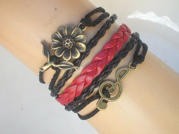 gifts for her Vintage black bracelet Flower by IriscaJewelry, $5.90