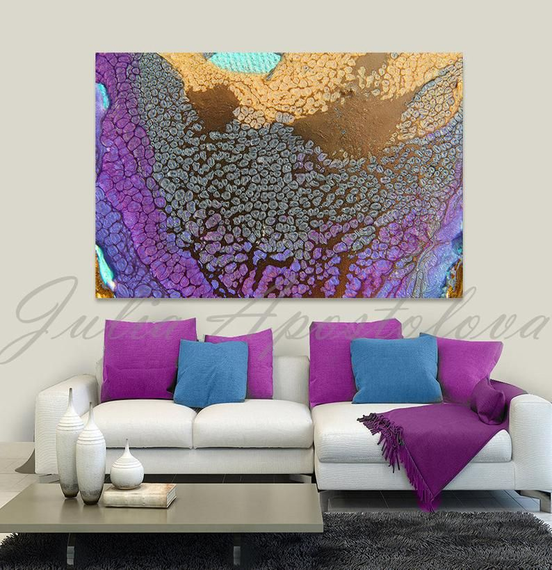 Canvas wall art abstract print purple gold abstract etsy