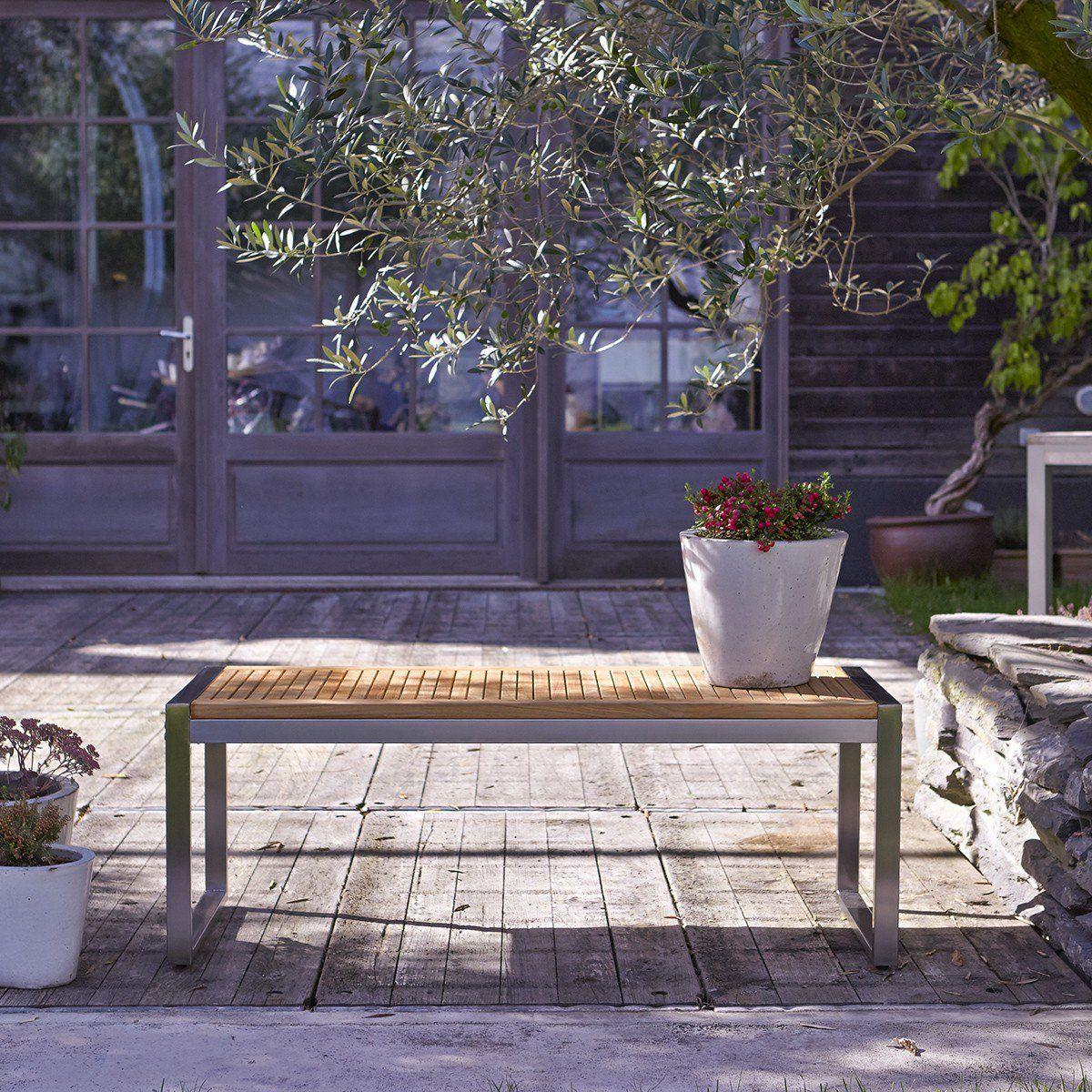 Banc de jardin en bois de teck et inox Arno in 2019 ...
