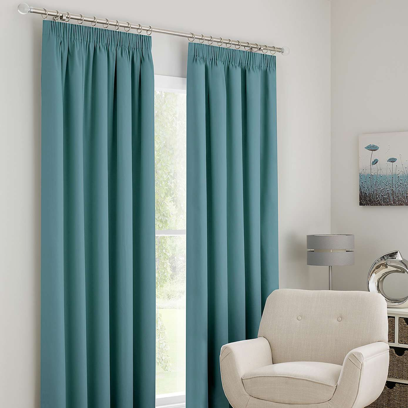 Dunelm Teal Solar Blackout Pencil Pleat Curtains | Pleated curtains ...