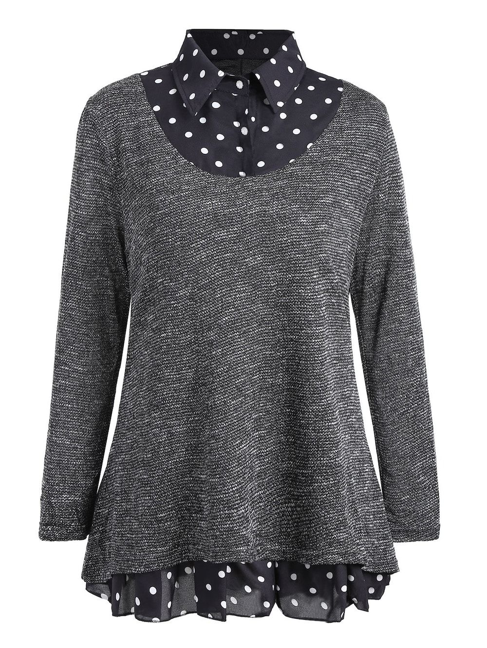 8f0e67bef2 Plus Size Polka Dot Overlay Knit Top - GRAY 5XL | Fatshion | Plus ...