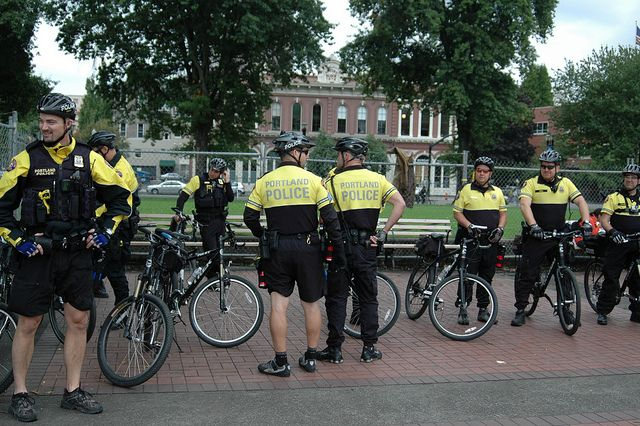 Spokes Patrol Bike Cops Out In Force At Occupy Portland Cop Out Cops Bike