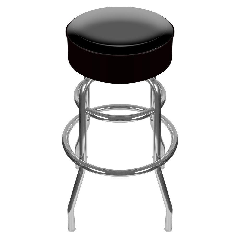 Trademark 31 In Chrome Swivel Cushioned Bar Stool 1000 Black
