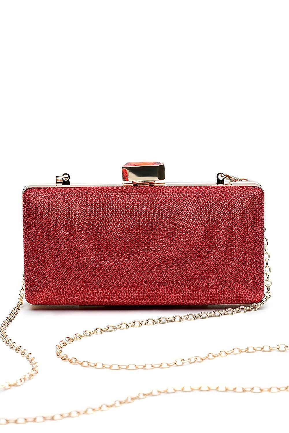 Women Clutch Purse Wallet Hard Case Glitter Evening Bag Handbag With Chain Strap Red Ct12jrz5gof S Bags Clutches Womensbags