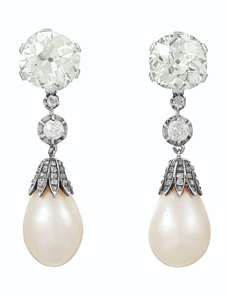 Antique Natural Pearl And Diamond Earrings In 2020 Natural Pearls Pearl And Diamond Earrings Vintage Diamond Earrings