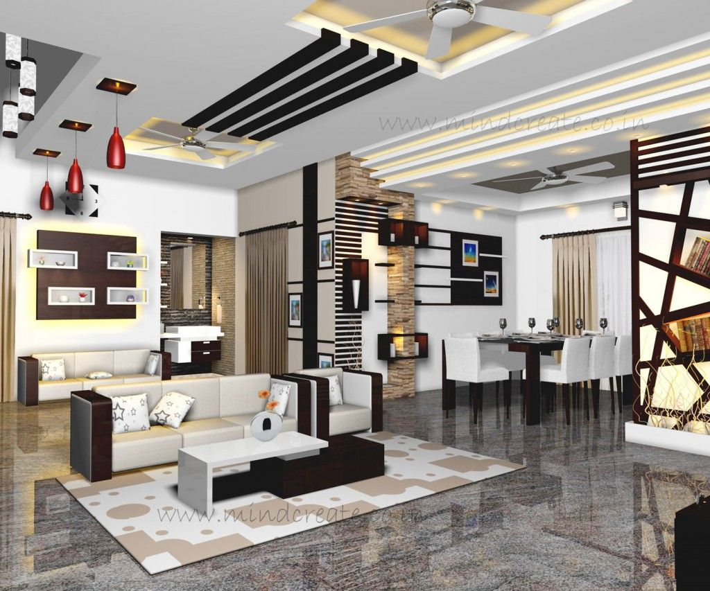 Interior model living and dining from kerala model home for Kerala house living room interior design