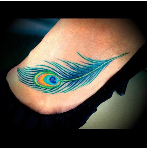 My Peacock Feather Foot Tattoo
