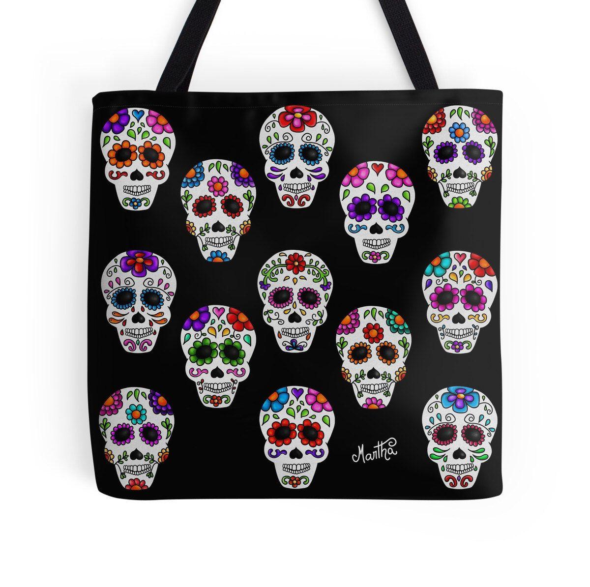 Martha mexican skulls (calacas) Tote Bag de MarthaDucoingArt en Etsy https://www.etsy.com/es/listing/229208487/martha-mexican-skulls-calacas-tote-bag