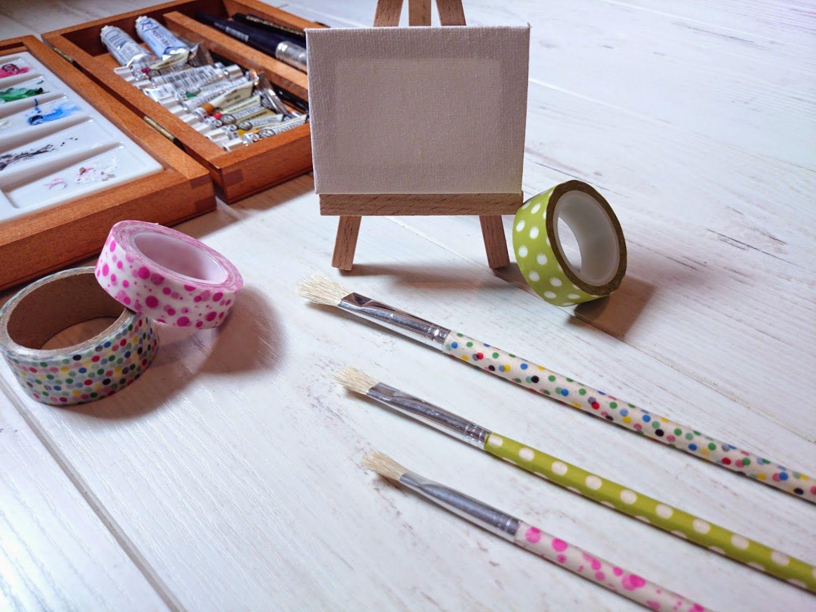 5 Ideas (fáciles) con.... Washi-tape Pinceles decorados con washi tape