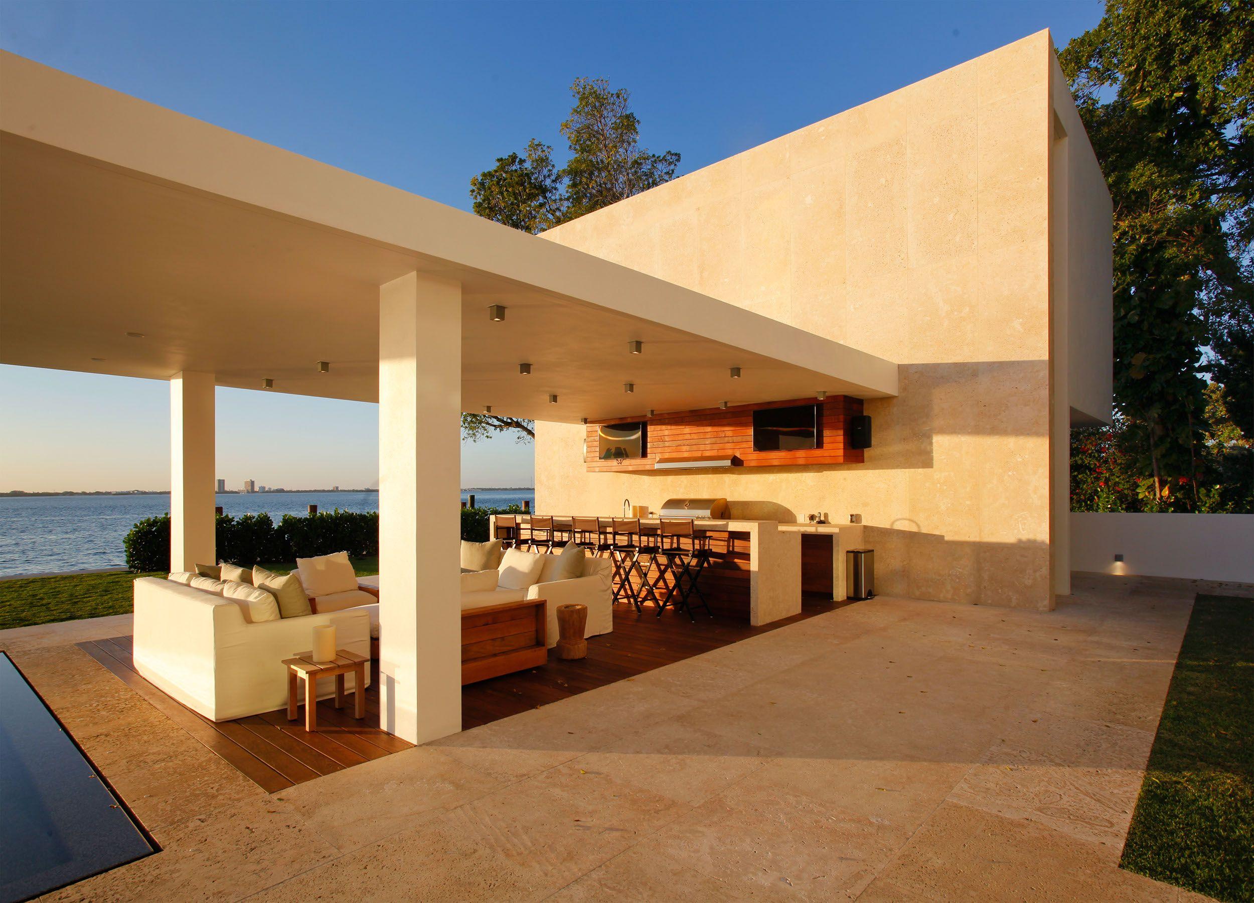 North Miami Beach Residence Opustone Natural Stone Interior Design Pool Patio Pergola Beautiful Patios Patio