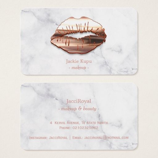 Trendy Marble Rose Gold 3d Lips Makeup Artist Business Card Design