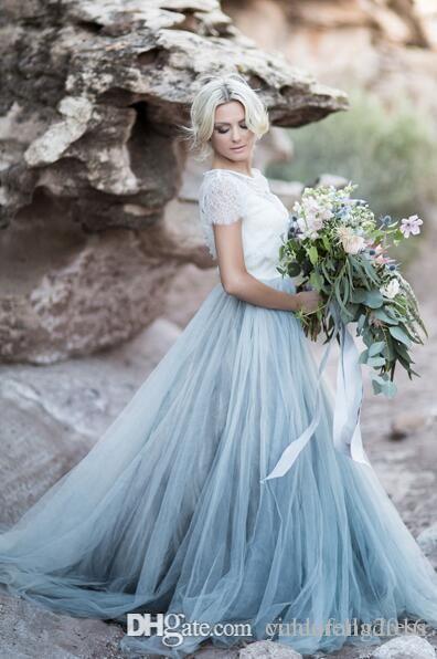 02bb195037ec 2017 Fairy Beach Boho Lace Wedding Dresses High-Neck A Line Soft Tulle Cap  Sleeves Backless Light Blue Skirts Plus Size Bohemian Bridal Gown A-Line  Wedding ...