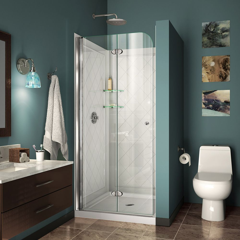 Aqua Fold 36 Inch D X 36 Inch W Bi Fold Shower Door In Chrome With White Acrylic Base And Backwalls Shower Doors Bifold Shower Door Frameless Shower Doors
