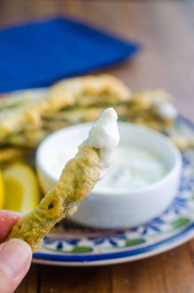 Asparagus Fries are lightly battered fried until golden and dipped