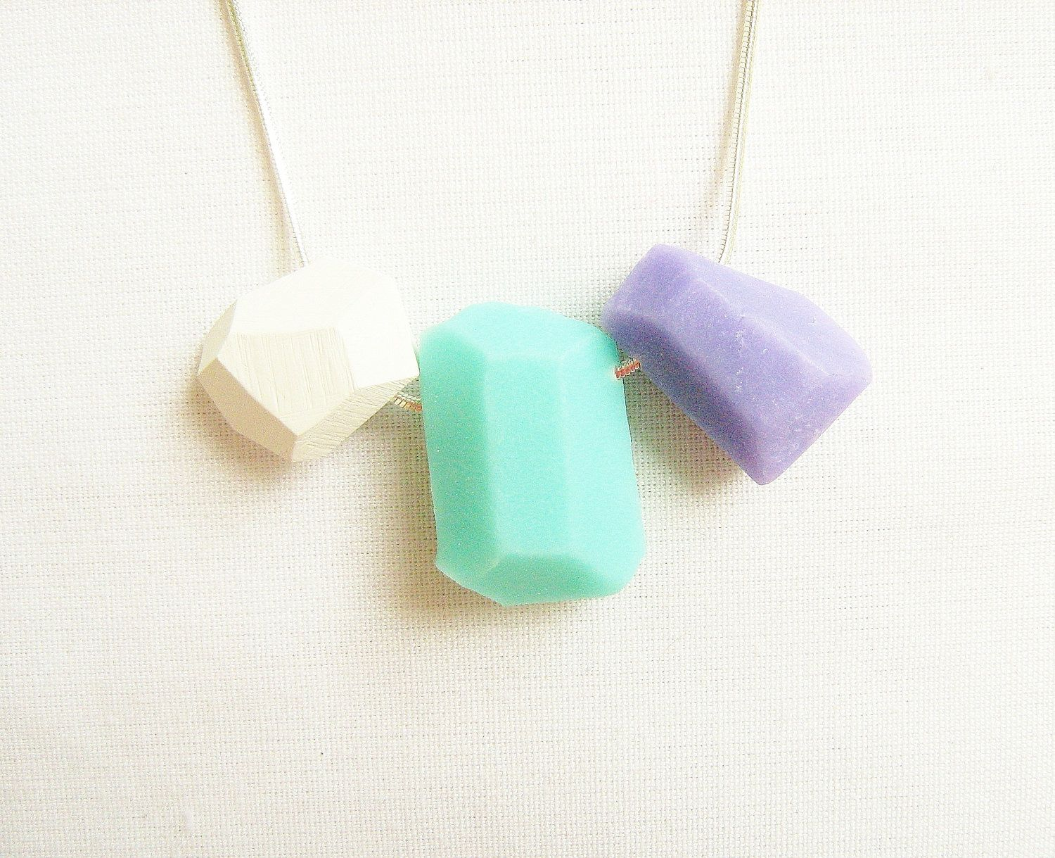 Pastel Geo Necklace in Mint, Soft Lilac and White - Rare Diamonds Collection.