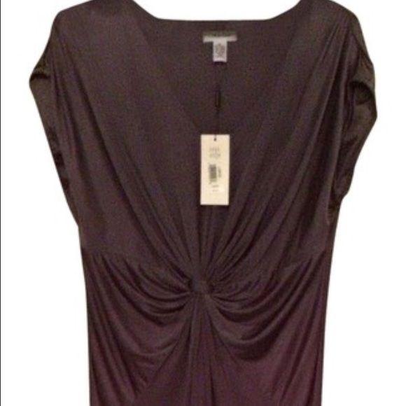 NWT Calvin Klein dress Gorgeous Calvin Klein dress in a smoky plum color. Beautiful draping around waist. Size large. Calvin Klein Dresses Midi