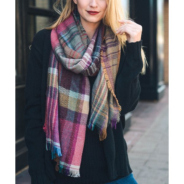 Leto Collection Fuchsia Plaid Scarf ($15) ❤ liked on Polyvore featuring accessories, scarves, plaid shawl, plaid scarves, tartan scarves, tartan plaid scarves and tartan plaid shawl