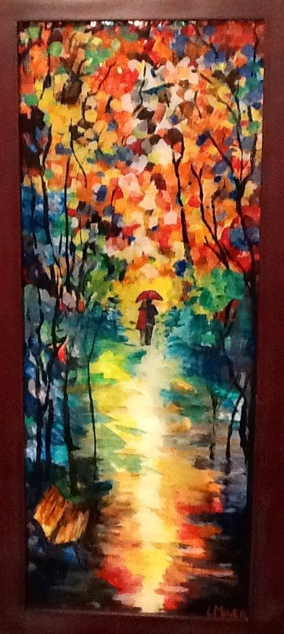 Autumn Day By Laurie Miller Original Reverse Glass Painting