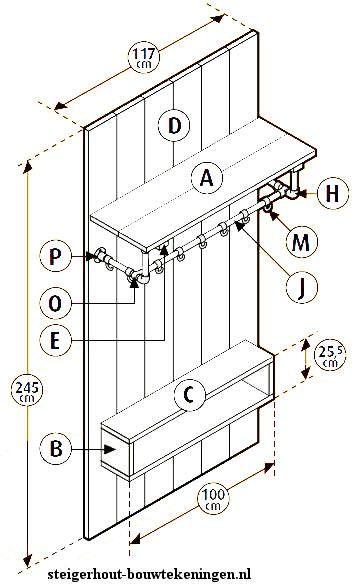 Entreemeubel kapstok om zelf te maken, gratis bouwtekening  Kledingrek en kapstokken van #