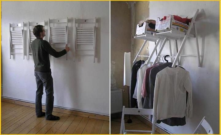 This is brilliant - chair shelves!