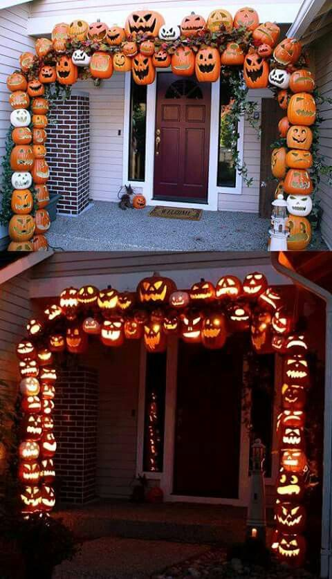 diy halloween lighting. DIY Halloween Jack-o\u0027-lantern Arch ~ Foam Craft Pumpkins Carved \u0026 Threaded With Lights, On A PVC Frame Tutorial W/photos Diy Lighting O
