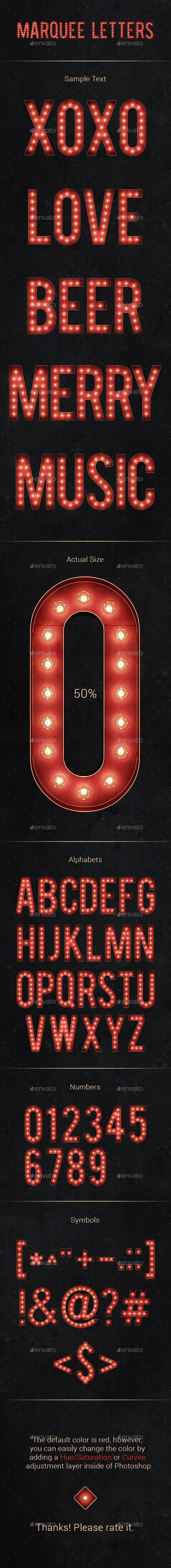 Marquee Letters — Photoshop PSD #colorful #party • Available here → https://graphicriver.net/item/marquee-letters/13308252?ref=pxcr